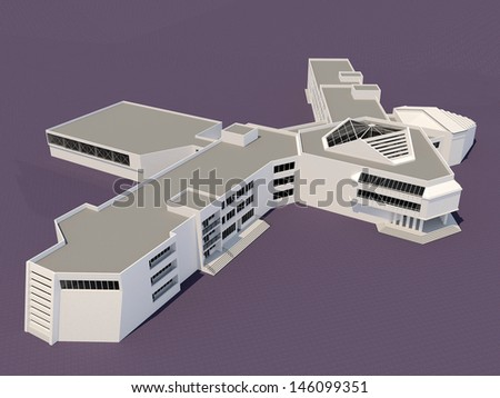 Architecture 3d sketch of the school building - stock photo