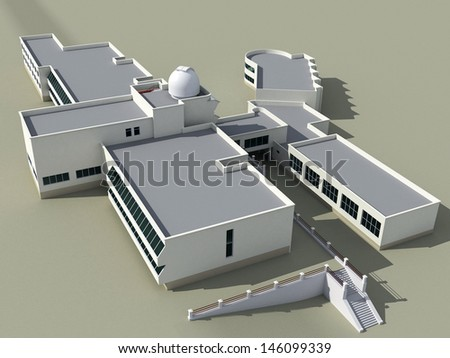 Architecture 3d sketch of the school building with an observatory - stock photo