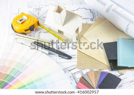 Architecture Design.architectural Materials, Measuring Tools ,model And  Blueprints