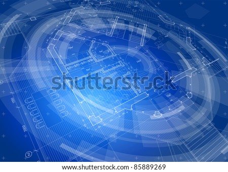 Architecture Design Blueprint House Plan Blue Stock Vector