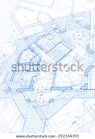 Architecture Design Blueprint House Plans Illustration Stock