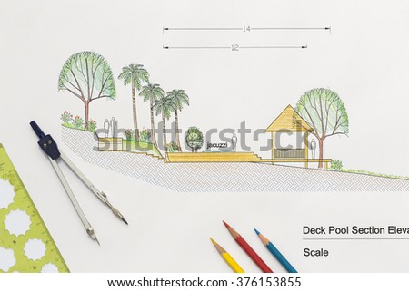 Architecture design Deck pool section elevation for luxury home. - stock photo