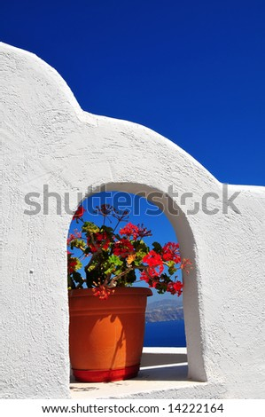 architecture detail in the Greek island of Santorini - stock photo