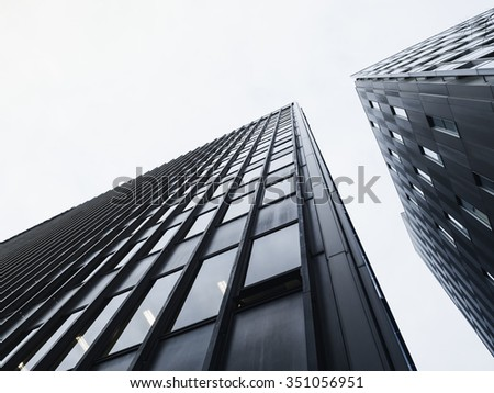 Architecture detail Modern Glass facade building Black and White - stock photo