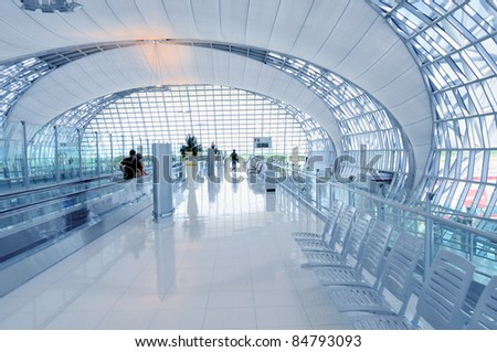 Architecture detail of Bangkok Airport in Thailand - Blue toned - stock photo