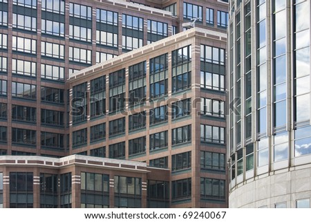 Architecture detail of Canary Wharf in London. - stock photo