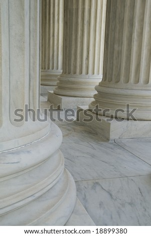 Architecture Detail of Columns of a Building in Washington DC - stock photo