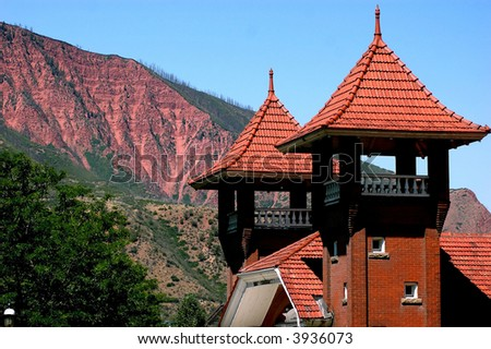 Architecture detail of Glenwood Springs Railway Station towers - stock photo