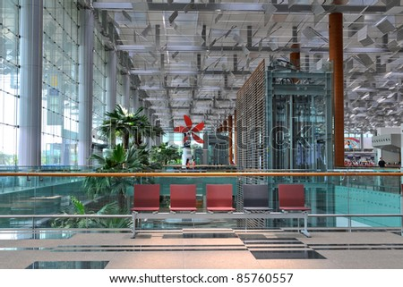 Architecture detail of Terminal 3 of Changi Airport in Singapore - - stock photo