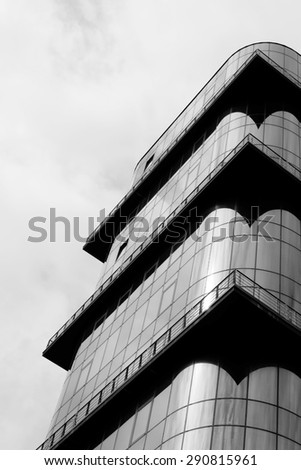Architecture details and fragments. Black and white image - stock photo