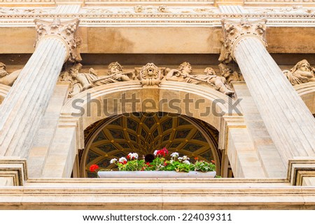Architecture details of buildings  and houses in the historical center of Prague: ceilings - stock photo