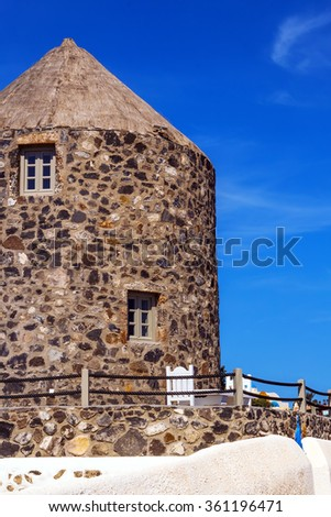 Architecture details of Imerovigli village, Santorini, Greece - stock photo