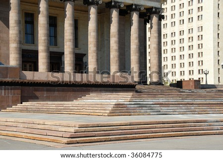 architecture details of Moscow state university Lomonosov in Russia - stock photo