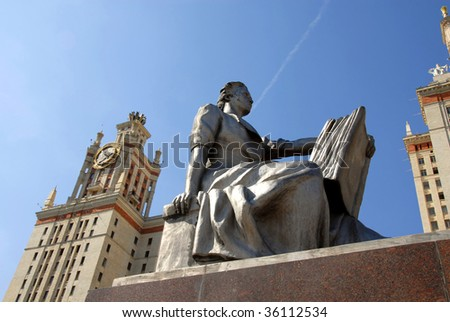 architecture details of Moscow state university Lomonosov in Russia
