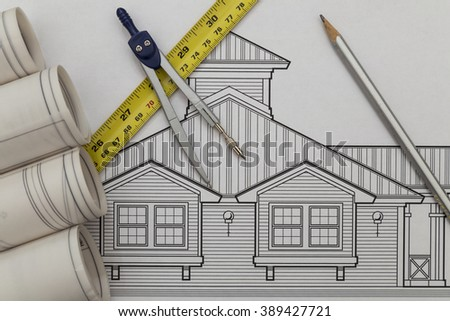 Architecture drawing - stock photo