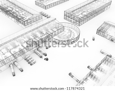 Architecture drawing style visualization of plant with offices and cargo service - stock photo