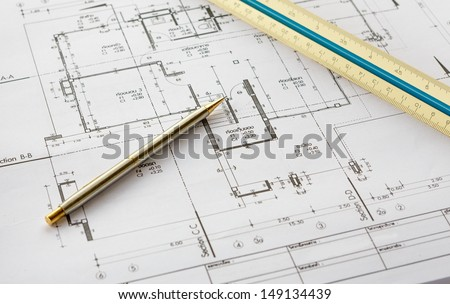 architecture drawings with pencil and ruler
