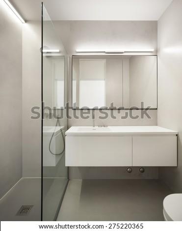 Empty Apartment Bathroom bathroom officehandbasin mirror toilet stock photo 306038177