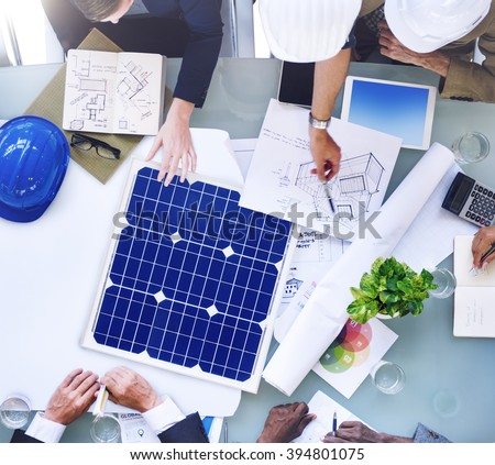 Architecture Engineering Meeting Working Brainstorming Concept - stock photo