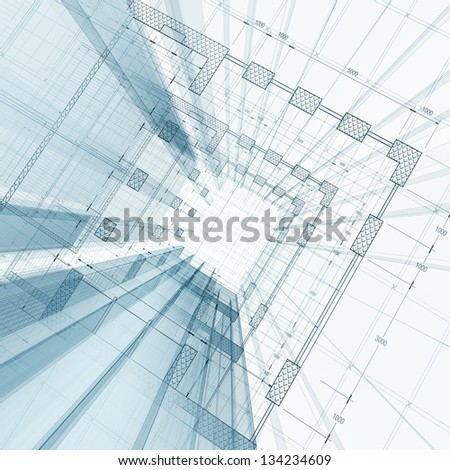 Architecture engineering. My design and 3d model - stock photo