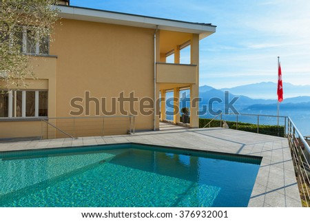 architecture, exterior of a modern building with pool