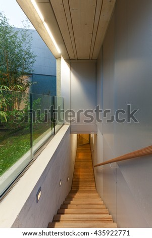 Architecture, external passage of a modern house