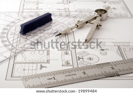 Architecture Blueprint Drawing Instruments Stock Photo