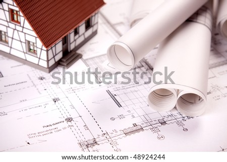 Architecture home plans - stock photo
