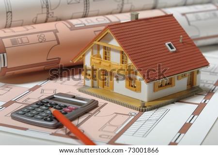 architecture house blue print plan - stock photo