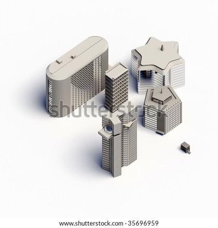architecture houses collection - orthographically - stock photo