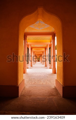 Architecture in arab style. Domes of typical mosque building - stock photo