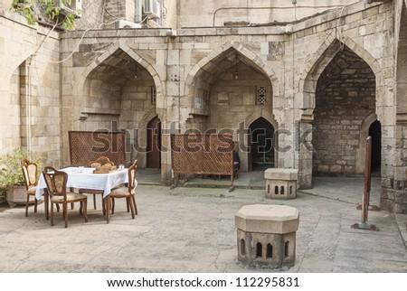 architecture in baku azerbaijan caravanserai restaurant - stock photo