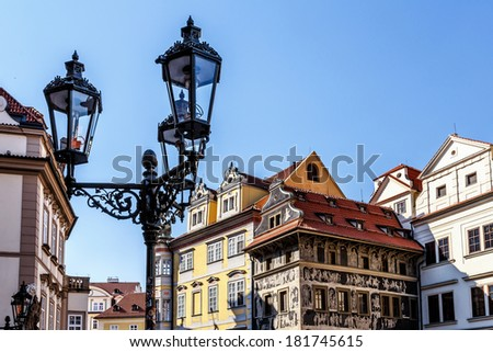 Architecture in historical centre of the Prague - stock photo