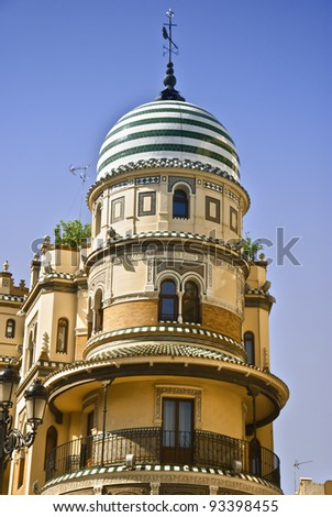 Architecture in seville, Andalusian style building in Seville, Spain