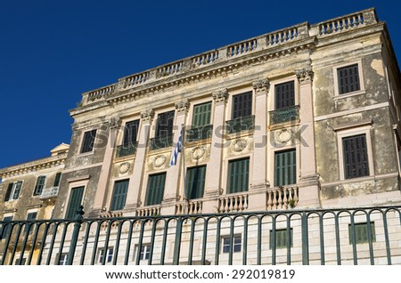 Architecture in the old town of Corfu island, Greece