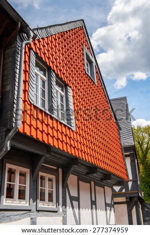 Architecture in the Old town of Gorlar, Lower Saxony, Germany. Old town of Goslar is a UNESCO World Heritage - stock photo