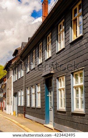 Architecture in the Old town of Gorlar, Lower Saxony, Germany. Old town of Goslar is a UNESCO World Heritage