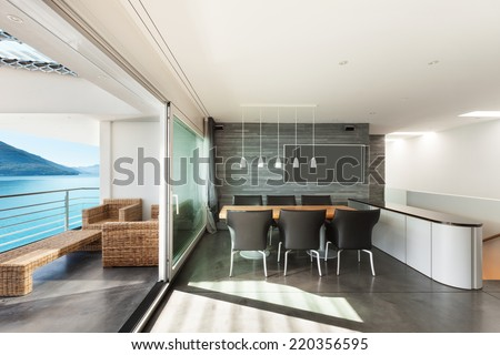 Architecture, Interior, modern apartment, wide dining room - stock photo