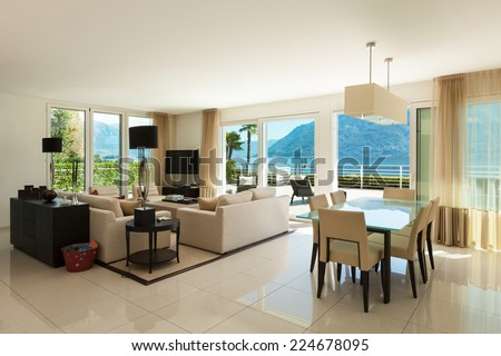 Architecture, Interior, modern apartment, wide living room - stock photo