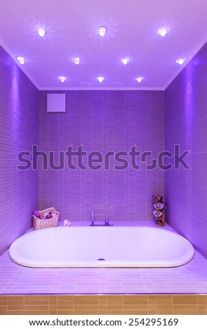 Architecture, interior modern bathroom, bathtub - stock photo