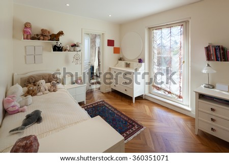 Architecture, interior of house, comfortable children room - stock photo
