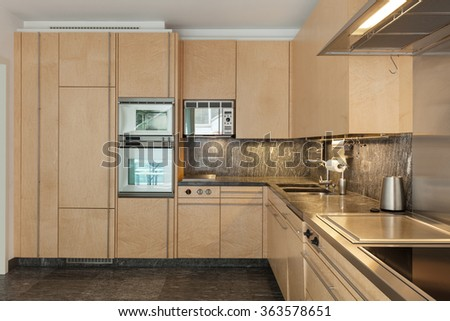 Architecture, interior of modern apartment, domestic kitchen - stock photo