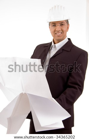 Architecture looking at new plan on white background - stock photo
