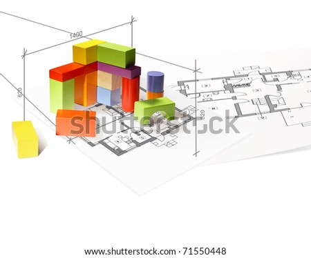 Architecture model house from building blocks - stock photo
