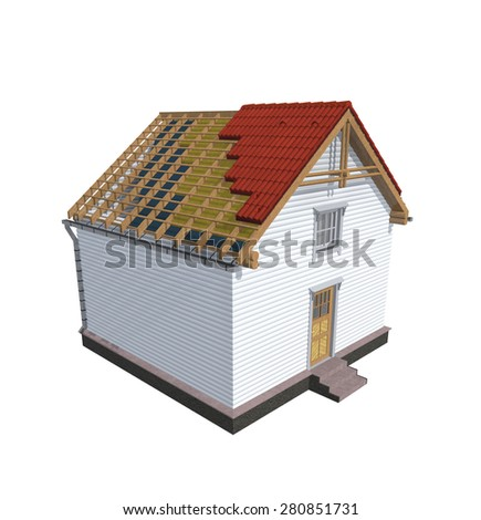 Architecture model house showing building structure, isolated on white