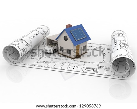 Architecture model house with garage - stock photo