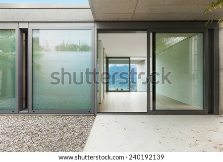 Architecture, modern apartment, view from the veranda     - stock photo
