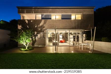 Architecture modern design, beautiful house, night scene - stock photo