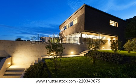 Architecture modern design, beautiful house, night scene - stock photo