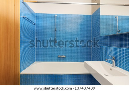 architecture modern design, interior, blue bathroom - stock photo
